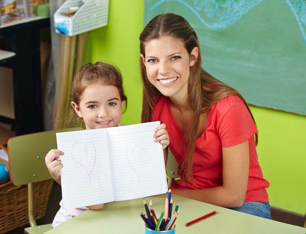 female teacher and her girl student